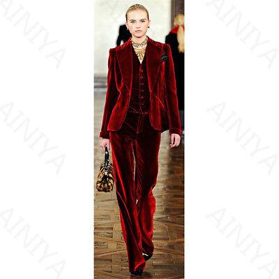 Deep Red Ladies Office Uniform Pant Suits For Women Velvet Female Trouser Suits