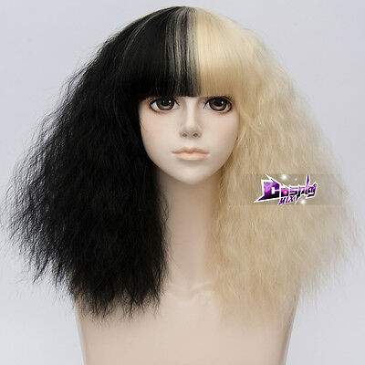 42CM hellblonde Mixed schwarz Locken Harajuku Lolita Perücke mit Pony Frisur Wig