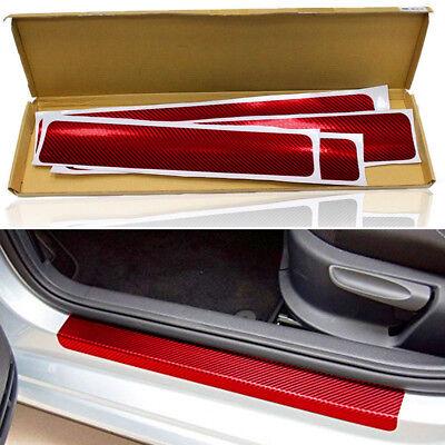 4Pcs Red Carbon Fiber Car Accessories Door Sill Scuff Cover Anti Scratch Sticker