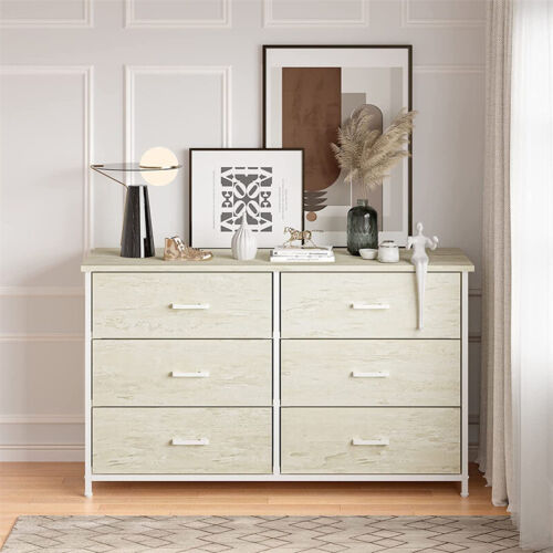 Dressers Chest Of Drawers 6 Drawers Soft White Finish Bedroom Storage Furniture