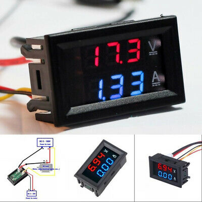 Dual Led 3 Digit Digital Dc 100v 10a Voltmeter Ammeter Voltage Amps Power Meter