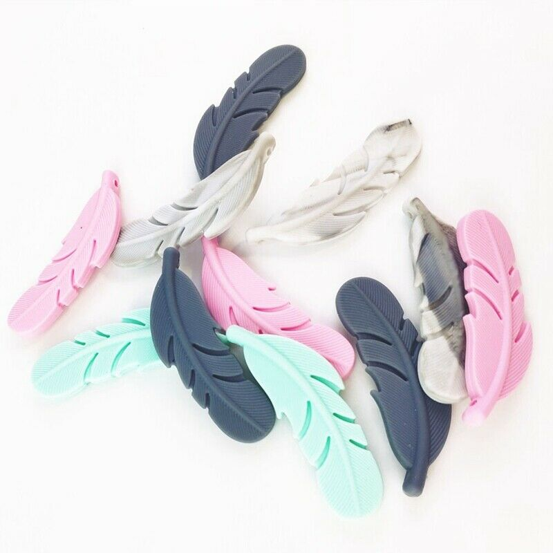 feather silicone teether chewy teething beads diy