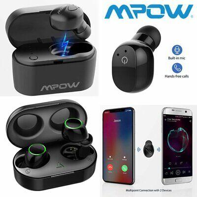 Mpow Invisible Wireless Earphone Bluetooth HD Stereo Earpiece Headphone w/ Mic