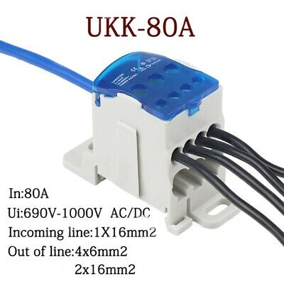 80a Distribution Box Din Rail Terminal Block 1 In Many Out Power Junction Box