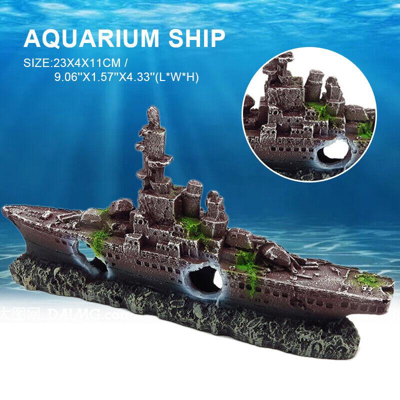 Schiff Wrack Deko Versunkene Schiffswrack Aquarium Fisch Tank Boot Decoration DE