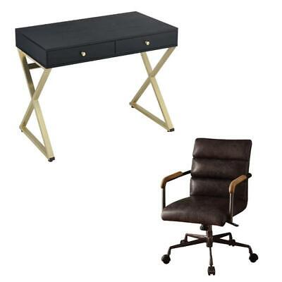 Modern 2 Piece Writing Desk and Rustic Leather Swivel Office Chair Set
