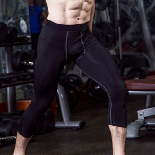 Mens Leggings Compression Running Basketball Pants 3//4 Cropped Base Layers Tight
