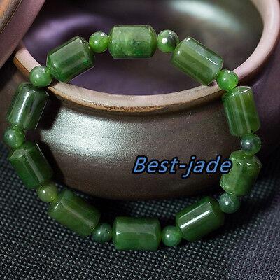 Russian Siberian Top Grade Apple Green Nephrite Jade Beads Bangle Bracelet