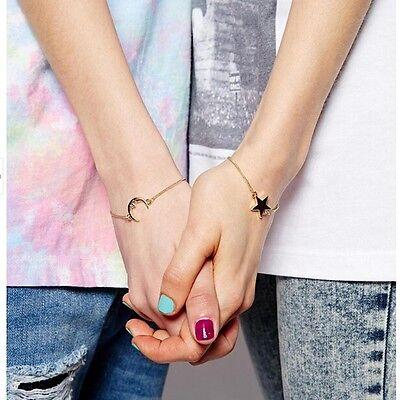2pcs Trendy Friendship Best Friends Sister Moon & Star Charm Bracelet - Best Friends Bracelet