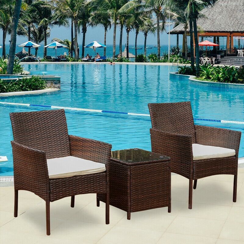 Garden Furniture - 3Pcs Rattan Garden Patio Furniture Set Outdoor Table Chairs Conservatory Bistro