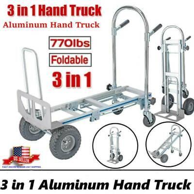 Us 3in1 Aluminum Hand Truck Convertible Folding Dolly Platform Cart Capacity
