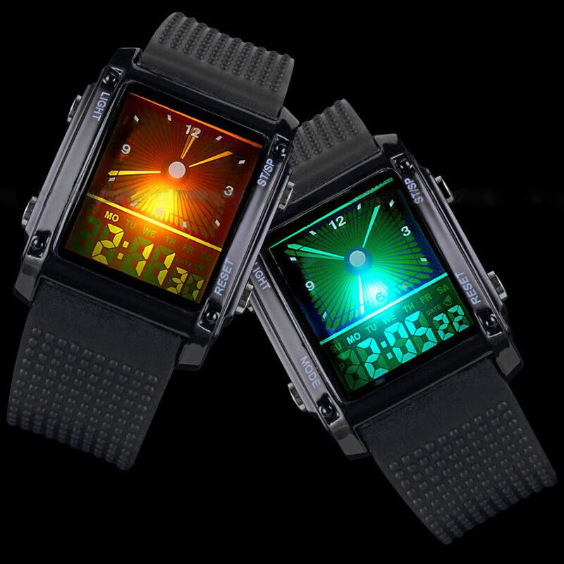 Sport Digital LCD Dual Time Date Day Alarm Chronograph Men's Wrist Watch New