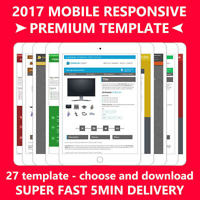 Ebay Template Listing Auction Professional Responsive design mobile html 2017