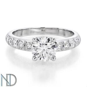 DIAMOND ENGAGEMENT RING 1.13 CT ROUND CERTIFIED E/SI2 14K WHITE GOLD SIZEABLE
