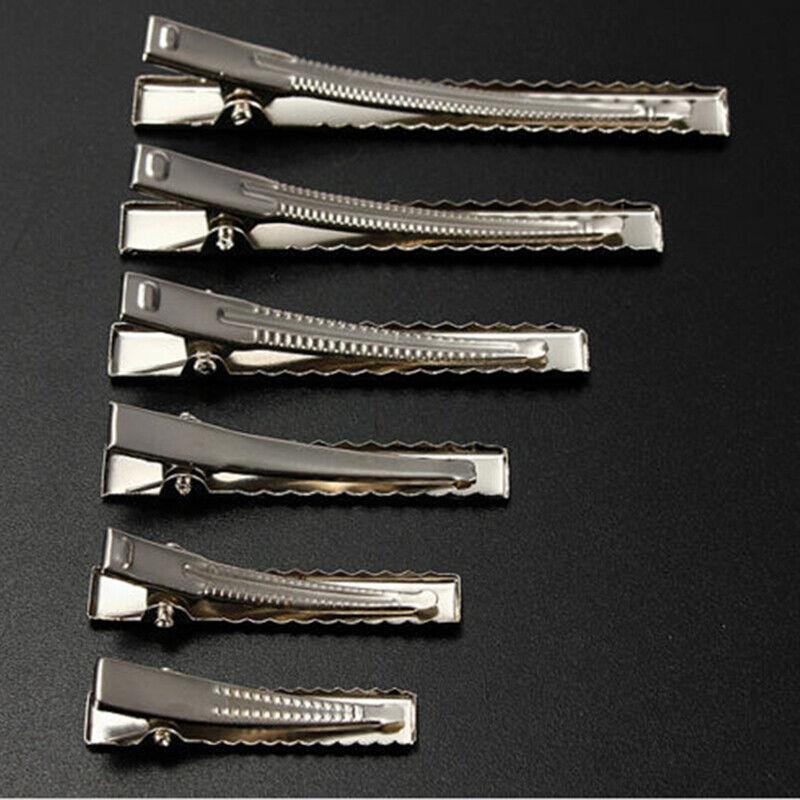 50x Krokodilklemmen Metall Silber 35-75mm lang Krokoklemmen Haarklammer Klemmen