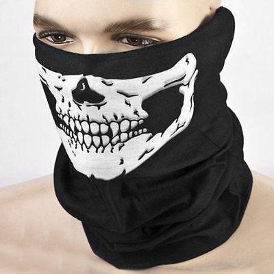1Pc Bicycle Ski Skull Half Face Mask Ghost Scarf Multi Use Neck Warmer COD Black