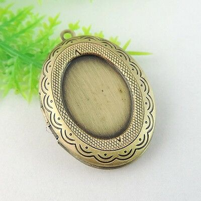 8pcs Antiqued Bronze Prayer box Alloy Oval Cameo Setting Locket Pendant Charms