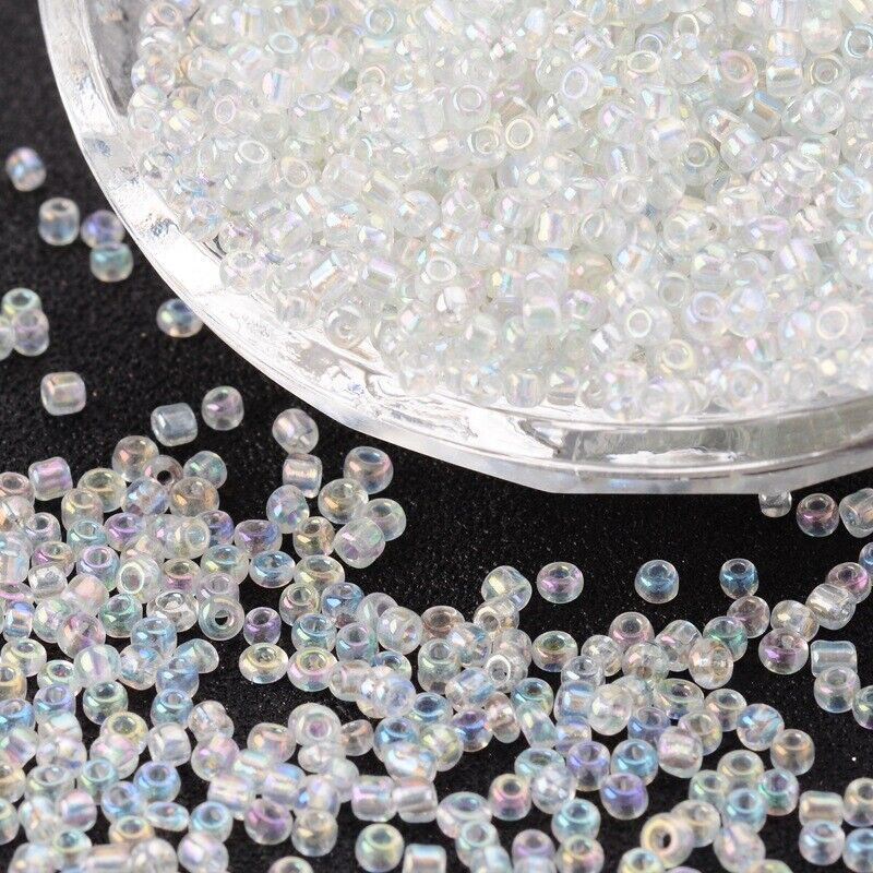50g Glass Seed Beads 11//0 2mm Opaque Ceylon Silver Lined Metallic Lustered