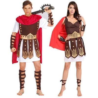 Halloween Roman Greek Warrior Knight Julius Caesar Costumes for Men Women Couple - Costumes For Couple