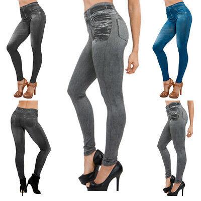 Donna Jeans Elasticizzati Leggings Jeggins Denim Collant Skinny Pantaloni