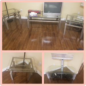 Set of 3 Glass/Metal Coffee Tables