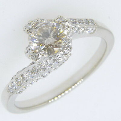 14k White Gold 3/4 Ct Solitaire Diamond 1/2 Ctw Accents Band Engagement Ring 1/2 Ct Ctw Diamond Solitaire