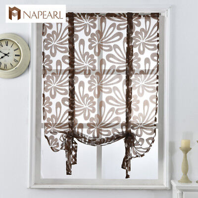 NAPEARL 1 Panel Tie Up Curtain for Kitchen Balloon Window Voile BrownRoman Shade