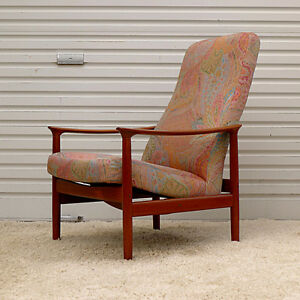 Mid Century Modern Danish Teak Lounge Recliner Chair