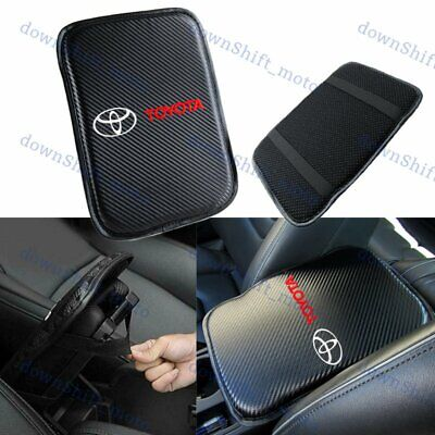 White Embroidery For TOYOTA Car Center Console Armrest Cushion Mat Pad Cover X1