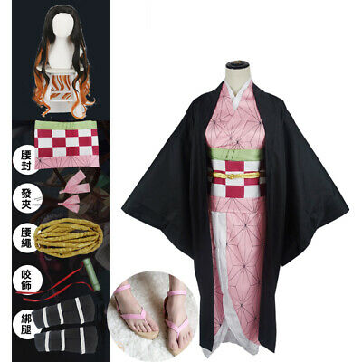 Demon Slayer Kimetsu no Yaiba Kamado Nezuko Cosplay Costume wig Kimono Outit Set - Demon Slayer Costume