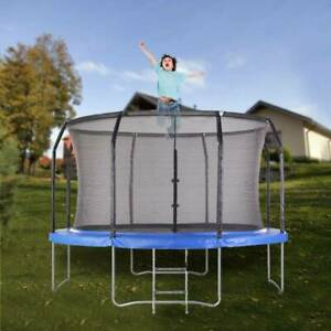 12ft round trampoline safety net ladder spring pad cover