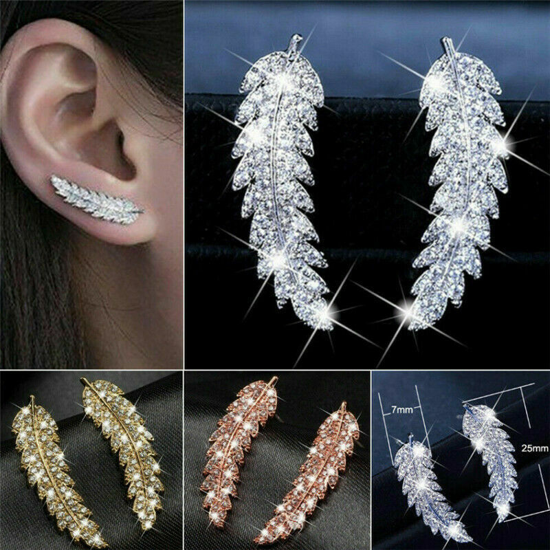 Jewellery - Fashion Feather Stud Earring Women 925 Silver,Rose Gold Jewellery A Pair/set UK