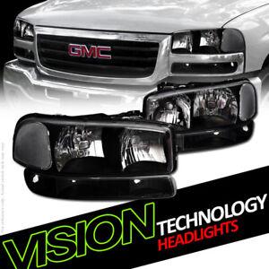 Euro Black Headlights w/Parking Bumper Lamps NB 99-06 07 GMC Sierra/00+ Yukon XL