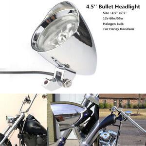 """4 1/2"""" Motorcycle Chrome Visor Bullet Headlight Lamp For Bobber Chopper Custom"""
