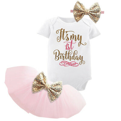 1st Birthday Party Outfits Tutu Baby Girl Gold Bow infant Clothing Sets Clothes - Girl First Birthday Party