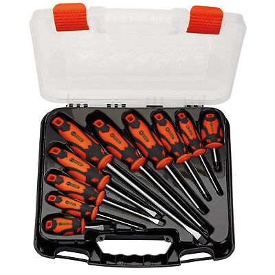 Draper Screwdriver Set Plain Slot & PZ Type CrV With Orange Handles 10 Piece