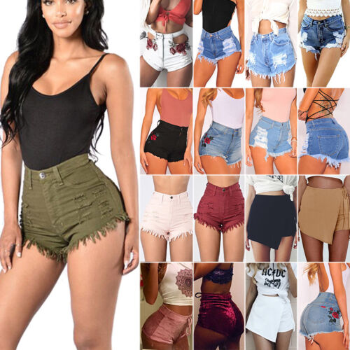 Women's Casual High Waisted Short Mini Jeans Denim Slim Beac