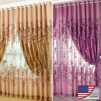 US Peony Pattern Voile Curtains Living Room Window Curtain Tulle Sheer Curtains