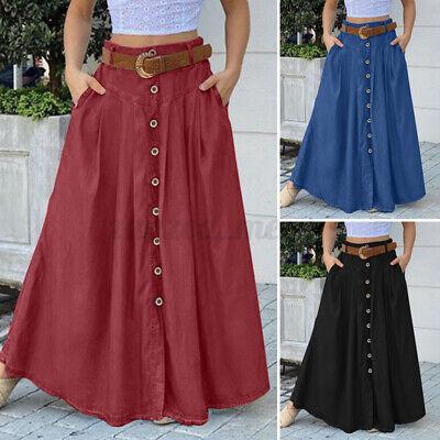 US STOCK Women's High Waist Long Pleated Skirt Bohemia Beach Holiday Maxi Dress