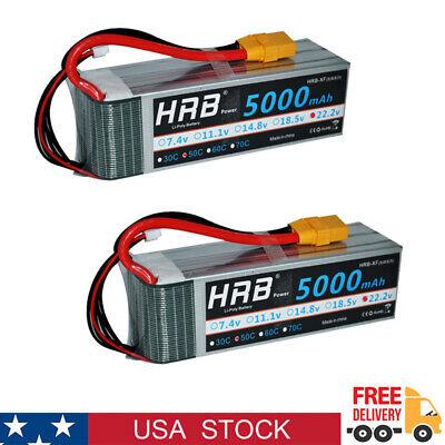 2pcs HRB 6S 5000mAh LiPo Battery 22.2V 50C XT90 for Drone QUAD PLANE TRUCK FPV ()