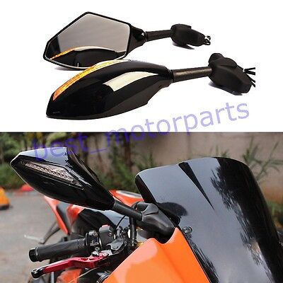 Motorcycle Rearview Mirrors with LED Turn Signals for Yamaha YZF R1 R6 2000-2008