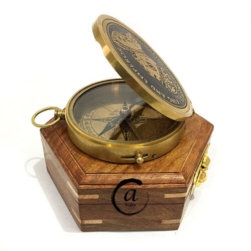 Direction Ship Captain Pocket Compasses Brass Handmade Lid Compass With Wood Box