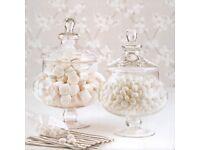 Pair of glass sweetie apothecary jars, display decor, wedding etc