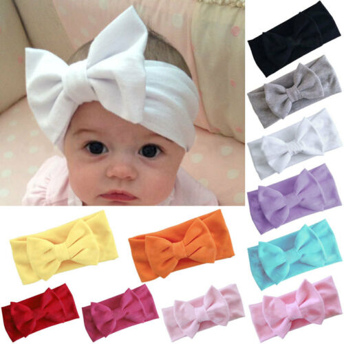 Girls Kids Baby Cotton Bow Hairband Headband Stretch Turban Knot Head Wrap New