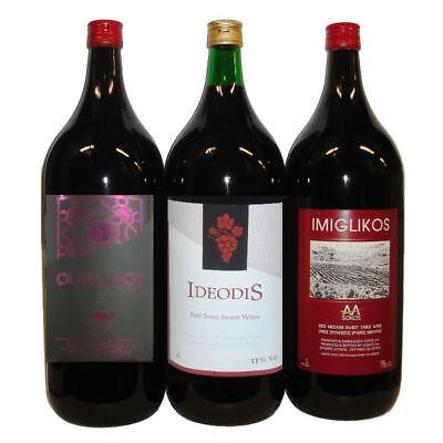 Imiglykos griechischer Rotwein 3x 2l halbsüß Set ausgesuchter Produzenten