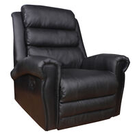 NEW!  Black Top Grain Leather Recliner - FREE Delivery!