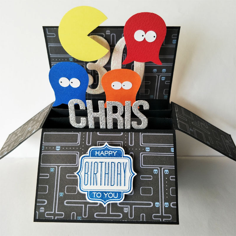 Handmade Name & Age Personalized birthday card, boyfriend pacman card