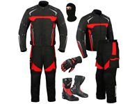 (Red) Moto Wizard Design Suit - Jacket + Trouser + Gloves + Boots (Long)