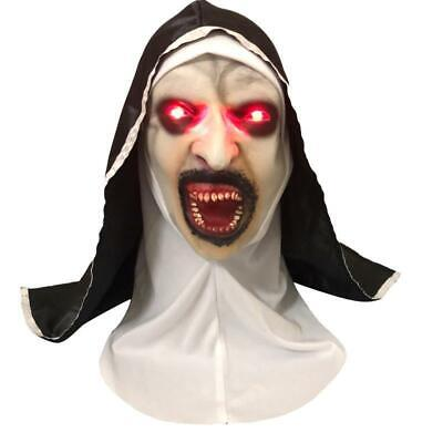 Scary Eyes For Halloween (The Nun Headscarf Mask w/LED Red Eyes Scary Horror Cosplay for Halloween)
