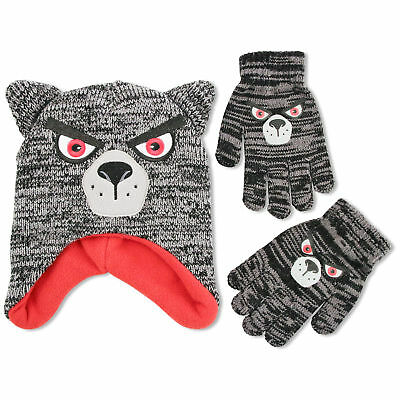 ABG Accessories Wolf Critter Hat & Gloves Cold Weather Set, Little Boys, Age 4-7